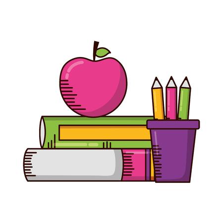 livres, crayons pomme, fournitures scolaires, vecteur, illustration, conception Vecteurs