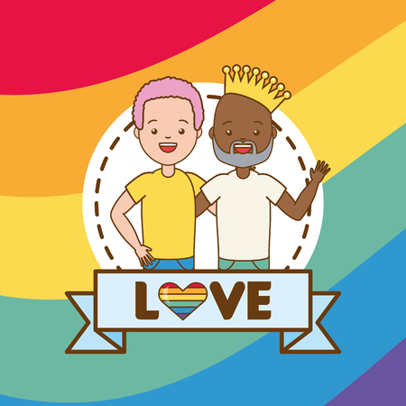 happy couple men lgbt pride vector illustration