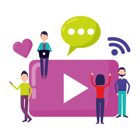 people video player wifi chat social media vector illustration