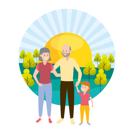 grandparents and granddaughter family outdoors vector illustration