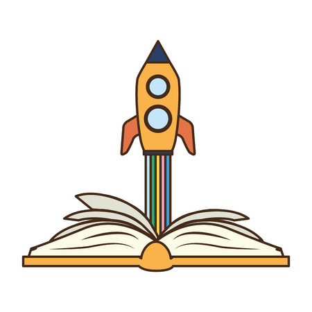 open book launching spaceship - world book day vector illustration Reklamní fotografie - 121789450