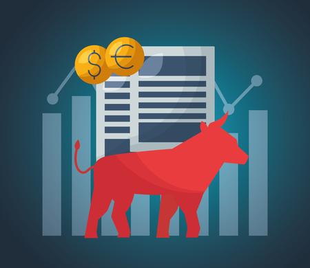 Bull Papiere Geld Finanzmarkt Vektor-Illustration