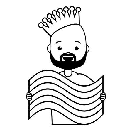 happy man with rainbow flag lgbt pride vector illustration 向量圖像