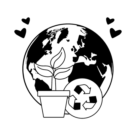 potted plants tree recycle earth day card vector illustration
