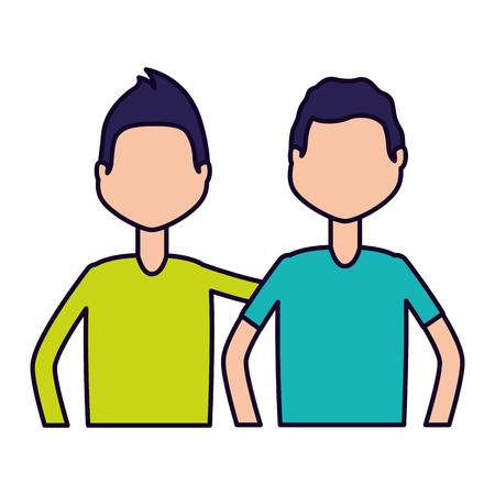 men characters portrait on white background vector illustration