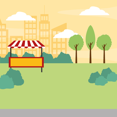 park trees booth urban background vector illustration design
