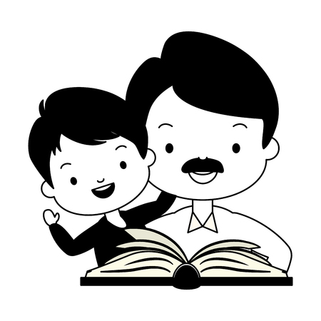 father son with reading book vector illustration design