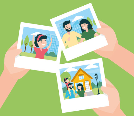hands with photos familiy day vector illustration design