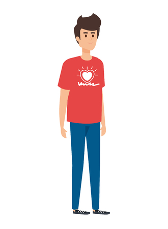 young man volunteer character vector illustration design Illustration