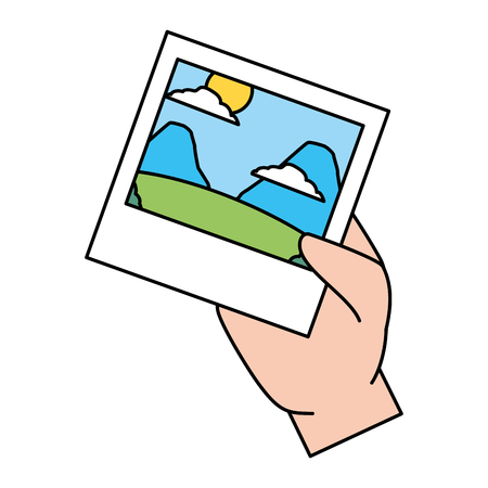 hand with photo landscape nature mountains vector illustration Иллюстрация