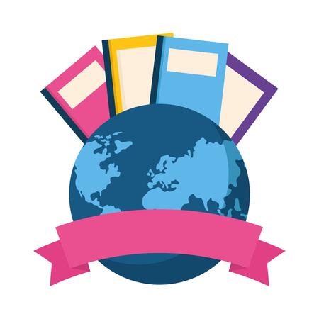 books ribbon world book day vector illustration
