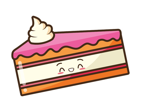 kawaii cake fast food cartoon vector illustration Illusztráció