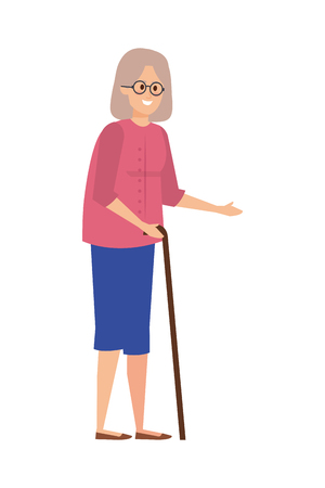 old woman with cane character vector illustration design Иллюстрация