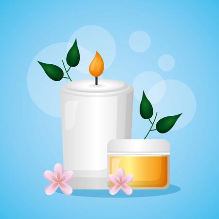 skin cream candle flowers spa treatment therapy vector illustration Illusztráció