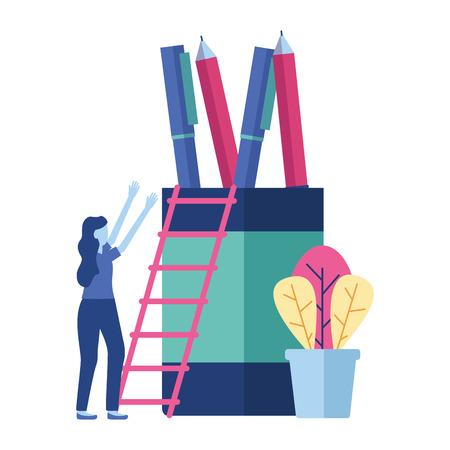 business woman pencils ladder vector illustration design