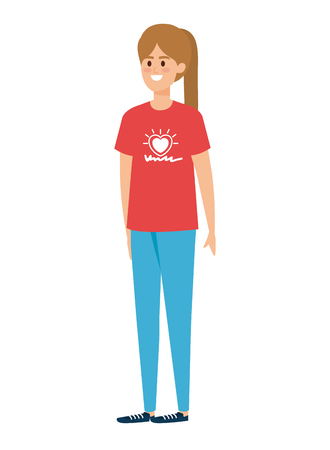 young woman volunteer character vector illustration design