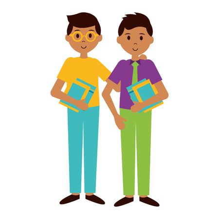 school boys with books teachers day card vector illustration