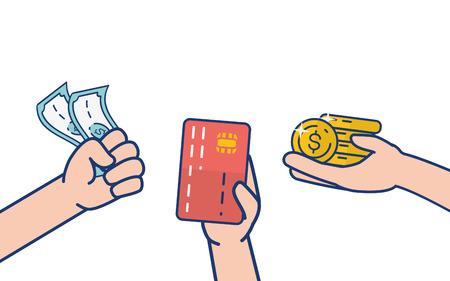 manos, con, tarjeta, monedas, billetes, banca en línea, vector, ilustración