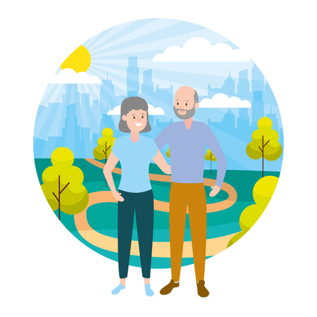 grandfather and grandmother couple family outdoors vector illustration