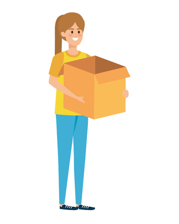 beautiful young woman lifting box carton vector illustration design