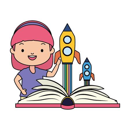 girl reading textbook fantasy - world book day vector illustration Иллюстрация