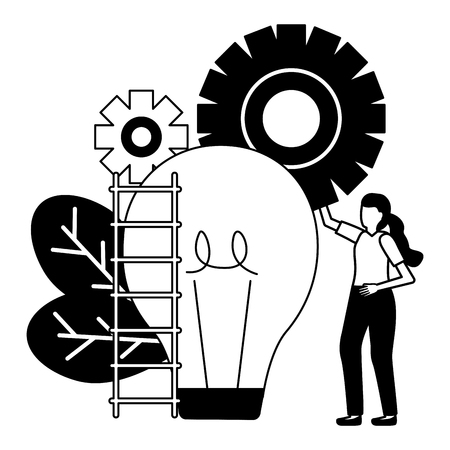 business woman bulb ladder gears vector illustration