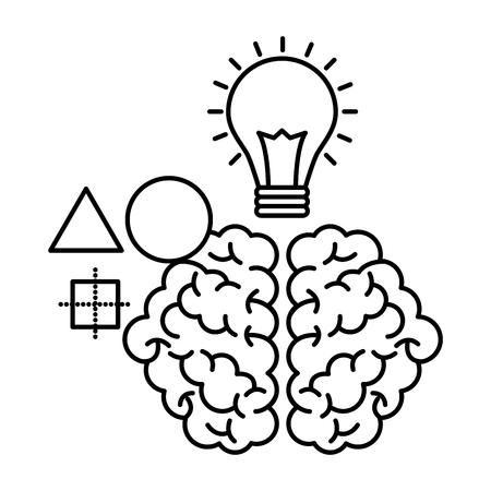 brain light bulb creativity idea vector illustration