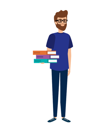 young teacher with books character vector illustration design
