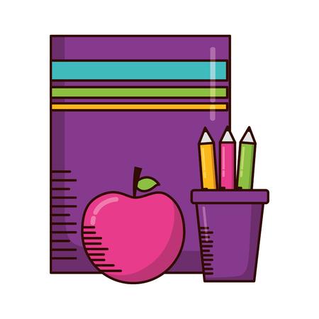 book apple pencils teachers day card vector illustration Ilustracja
