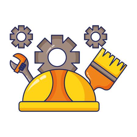 Bauarbeiterhelm Bürstenschlüssel Zahnräder Tag der Arbeit Vektor-Illustration