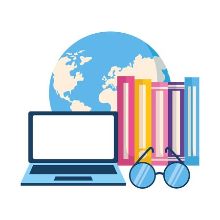 Lentes de libros de mundo portátil aprendizaje ilustración vectorial Ilustración de vector