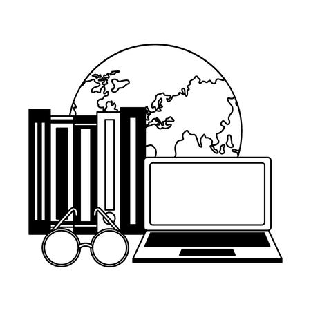 Lentes de libros de mundo portátil aprendizaje ilustración vectorial