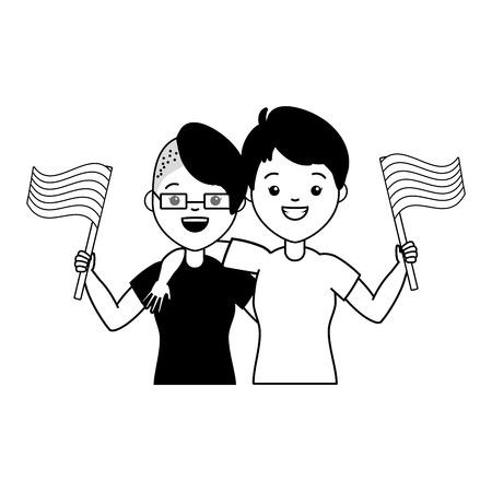 happy couple women lgbt pride vector illustration Illustration