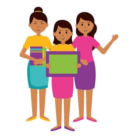 women and girl school blackboard books teachers day card vector illustration Illustration