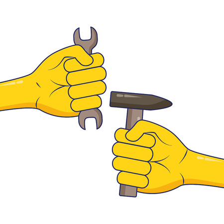 hands with tools hammer spanner labour day vector illustration