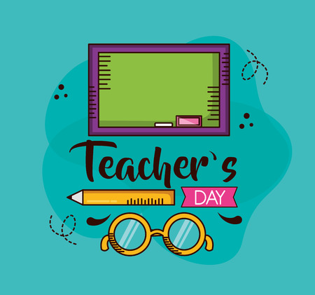 school board pencil glasses teachers day vector illustration  イラスト・ベクター素材