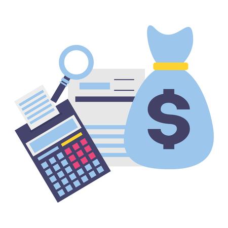 Sac d'argent calculatrice formulaire analyse paiement d'impôt vector illustration