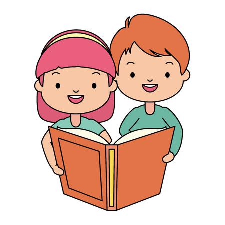 garçon et fille avec manuel enfants journée mondiale du livre illustration vectorielle