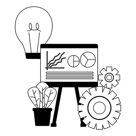 business board bulb gear vector illustration design  イラスト・ベクター素材