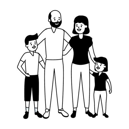 grandparents and granddaughter with grandson vector illustration design