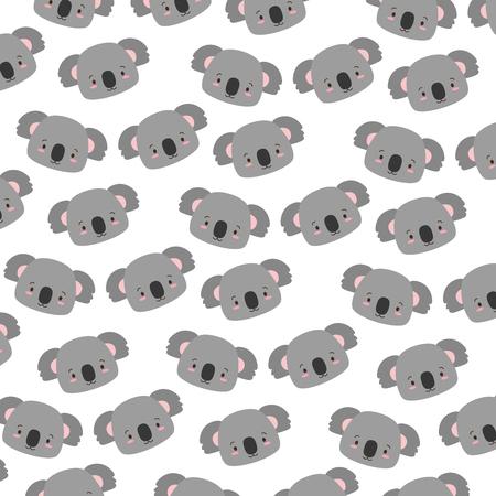 cute koala face cartoon decoration background vector illustration