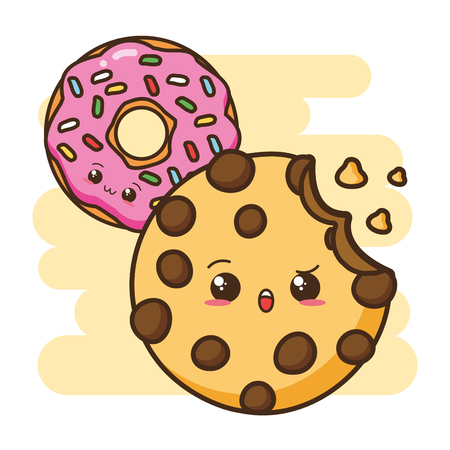 kawaii donut cookie fast food vector illustration