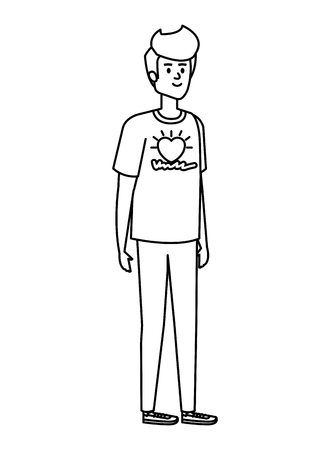 young man volunteer character vector illustration design Stock Illustratie