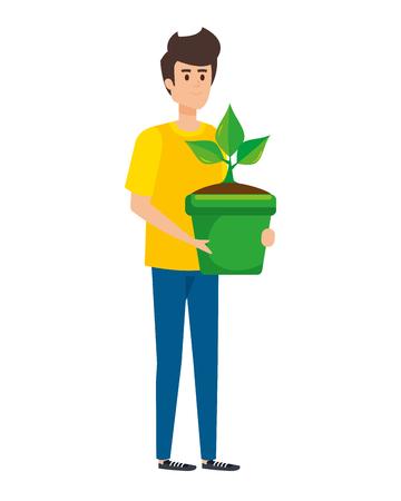 junger Mann, der Zimmerpflanze im Topfvektorillustrationsdesign anhebt
