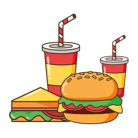 burger sandwich soda cups vector illustration design