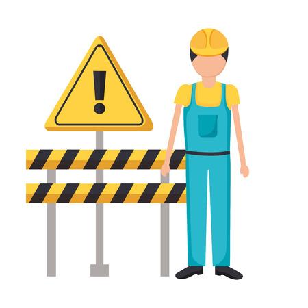 construction worker equipment barricade alert sign vector illustration Vetores