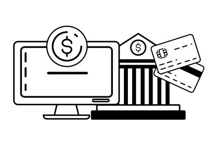 computer bank cards money online payment vector illustration 일러스트