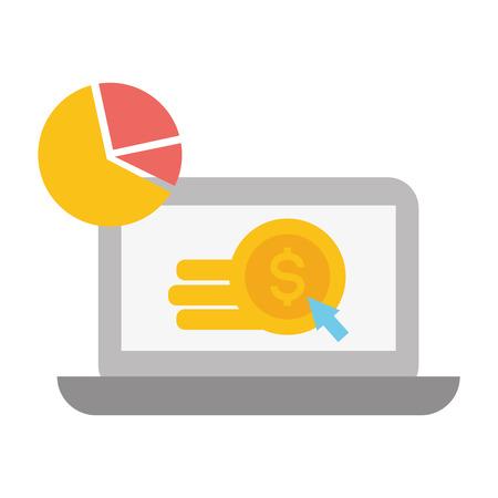 laptop money document report online payment vector illustration Imagens - 121828561