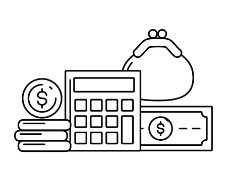 calculator purse money currency online payment vector illustration 스톡 콘텐츠 - 121828562