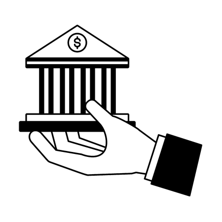 hand with bank money saving vector illustration